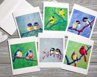 Bird Pairs Blank Note Cards Set Of 6, Valentine Stationery Blank With Envelopes, Bird Art Print Cards Miss You, Valentine Note Cards Birds