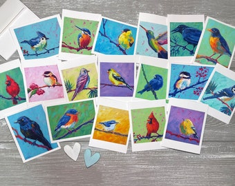 Bird Variety Thank You Notes Set of 18, Blank Thank You Cards Set, All Occasion Card Set Blank, Bird Notecards Set, Stationery Set for Women