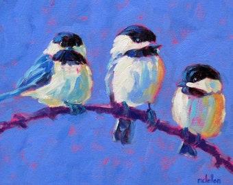 Three Chickadee Birds on a Branch Art Print, Bird Art Canvas Print Wall Decor Nature Print, Bedroom Wall Decor Paper Print Wall Art Bold