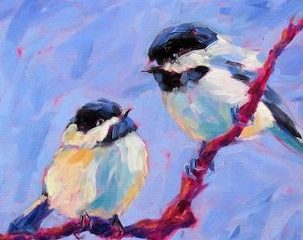 Chunky Chickadee Painting, Colorful Chickadee Print, Chickadee Print, Chickadee Art, Bird Print, Bird Art, Bird Painting, Bird Decor