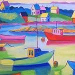 Whimsical Art, Maine Art, Maine Print, Maine Painting, Maine Landscape, Maine Seascape, Coastal Maine, Landscape Art, Lobster Boat