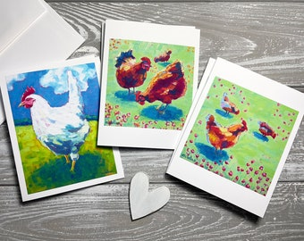 From and Original Watercolour Painting Chicken Notecards A Pack of 5 folded Notecards with Envelopes Everyday Stationery Black Hen