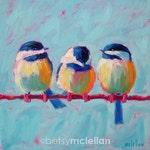 Colorful Chickadee Print, Chickadee Print, Chickadee Painting, Chickadee Art, Bird Print, Bird Art, Bird Painting, Bird Decor, Bird Trio