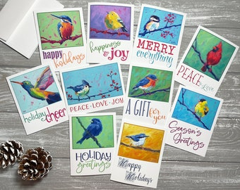 Bird Holiday Cards Set Of 10, Happy Holidays Card Set Blank Christmas Cards With Envelopes, Blank Holiday Card Set with Envelopes