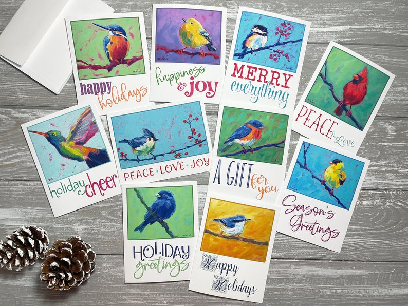 Bird Holiday Cards Set Of 10 Happy Holidays Card Set Blank image 1