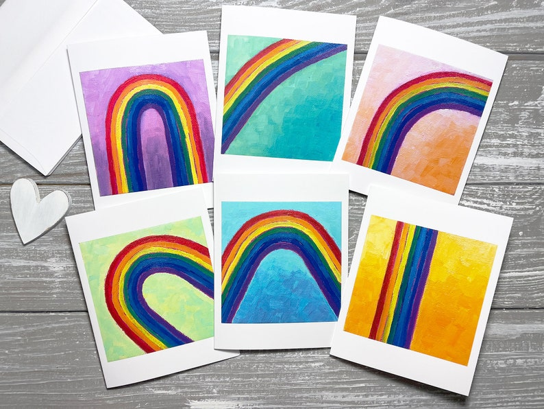 Rainbow Note Cards with Envelopes Set of 6 Rainbow Stationery image 0