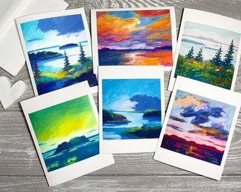 Seascape Thank You Cards Blank Set of 6, Landscape Greeting Cards Set, Coastal Notecards Set with Envelopes, Nautical Stationery for Women
