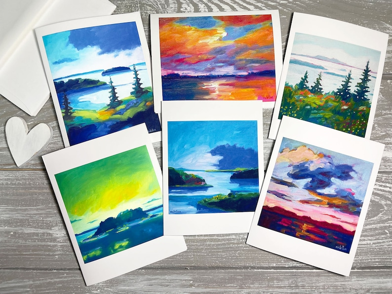 Seascape Thank You Cards Blank Set of 6 Landscape Greeting image 1