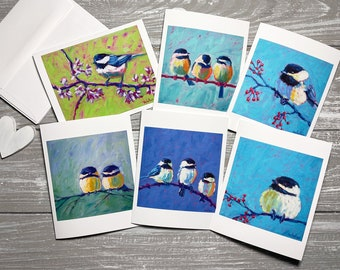 Chickadee Note Cards, Bird Blank Note Cards Set Of 6, Bird Stationery Set, Bird Notecards Blank With Envelopes, Bird Group Note Cards