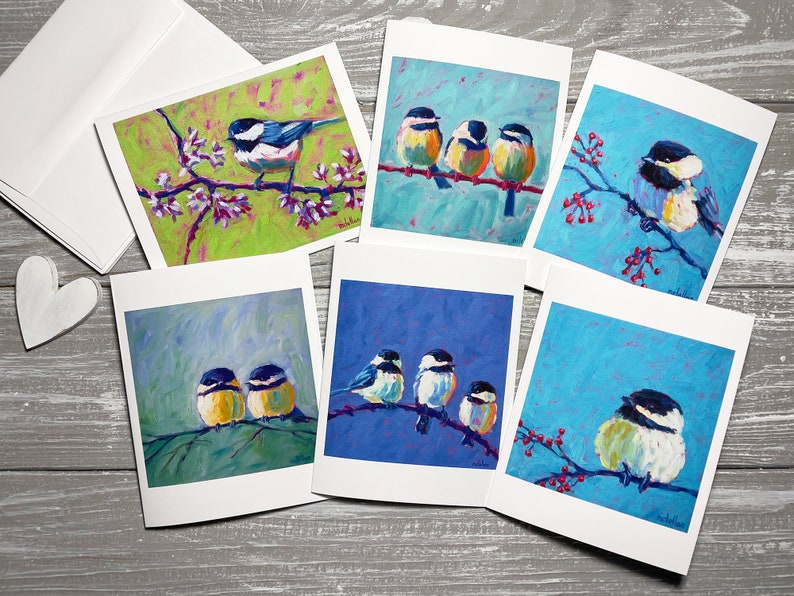 Chickadee Note Cards Bird Blank Note Cards Set Of 6 Bird image 0