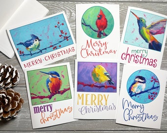 Bird Christmas Note Cards Set Of 6, Blank Christmas Cards With Envelopes, Happy Holidays Card Sets Blank, Holiday Card Set with Envelopes