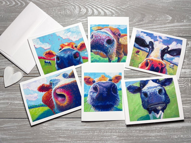 Cow Variety Blank Note Cards Set Of 6 Cow Stationery Set image 0