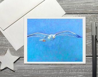 Seagull Note Cards with Envelopes, Seagull Thank You Notecards, Seagull Art Note Cards Blank Inside, Coastal Bird Thank You Card Set Blank