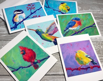 Bird Variety Blank Note Cards Set Of 6, Bird Stationery Set, Bird Notecards Blank With Envelopes, Bird Group Note Cards, Miss You Cards