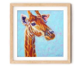 Giraffe Art Colorful Wall Art, Giraffe Art Print, Giraffe Artwork for Kids Room, Safari Nursery Decor Boy, Safari Nursery Prints Neutral