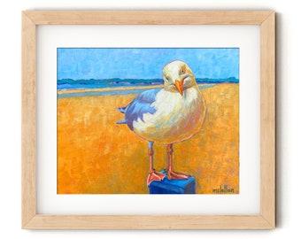 Seagull Print Canvas Art Print, Seagull Painting Print on Canvas, Shorebird Wall Art Print Colorful, Shorebird Print, Ocean Bird Art Print