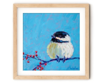 Chickadee Painting Print for Entry Way, Colorful Bird Wall Art Canvas Print Art Nursery, Guest Room Decor for Office, Wood Block Art Print