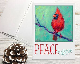 Cardinal Holiday Note Cards Blank, Peace Love Cards with Envelopes, Peace Love Cardinal Greeting Cards Set, Bird Holiday Notecards Set