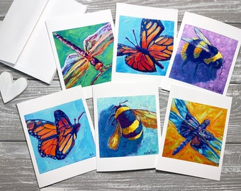 Insect Note Cards, Bug Note Cards Set Of 6, Insect Stationery Set, Insect Notecards Blank With Envelopes, Bug Notecards Blank Inside, Bugs