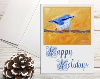 Nuthatch Holiday Cards Set with Envelopes, Happy Holidays Greeting Cards with Birds, Bird Holiday Cards Blank Greeting Cards Holiday