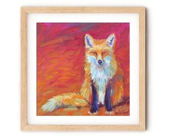 Fox Art Print Canvas Wall Art Prints, Woodland Nursery Decor Neutral Wall Art Print, Woodland Fox Art Print, Fox Art on Canvas Paper Wood
