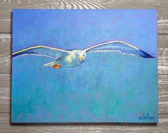 Seagull Painting on Canvas 11x14, Seagull Original Oil Painting, Seagull Original Art Painting, Coastal Bird Wall Art, Shore Bird Art