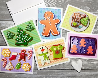 Cookie Holiday Greeting Cards Set of 6, Holiday Stationery Set, Christmas Note Cards Blank With Envelopes, Christmas Notecards Set