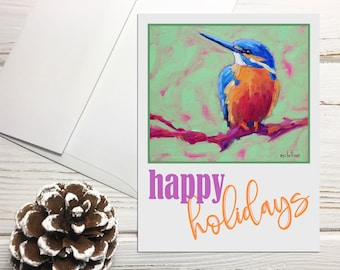 Kingfisher Holiday Card Set with Envelopes, Happy Holidays Note Cards with Birds, Neutral Holiday Card Set Blank Greeting Cards Holiday