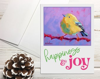 Yellow Warbler Bird Holiday Cards Set Blank, Happiness and Joy Notecards Set, Bird Holiday Greeting Cards Blank Greeting Cards Holiday Birds