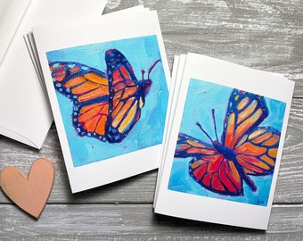 Monarch Butterfly Note Cards Set, Butterfly Stationery Set, Butterfly Greeting Cards, Blank Thank You Cards, Summer Stationery for Women