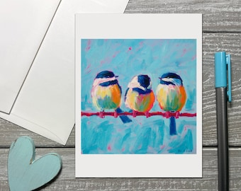 Chickadee Note Cards Set, Bird Stationery Set for Women, Notecards Blank With Envelopes, Bird Thank You Note Cards, All Occasion Note Cards