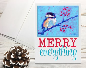 Chickadee Holiday Note Cards Blank, Merry Everything Greeting Cards Set, Bird Holiday Card Set Blank with Envelopes, Christmas Note Cards