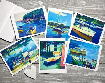 Coastal Greeting Cards Blank Greeting Cards with Art, Coastal Stationery with Envelopes, Harbor Painting Note Cards Blank Inside, Maine Art