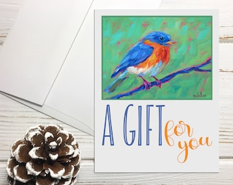 Bluebird Holiday Note Cards Blank, A Gift for You Card with Envelopes, A Gift for You Note Card Set, Bird Holiday Greeting Card Set Blank