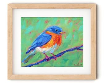 Bluebird Art Print Colorful, Eastern Bluebird Wall Art Canvas Nursery Prints, Bluebird Painting Print Nature Wall Decor Bluebird Print