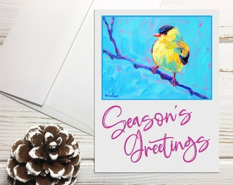 Goldfinch Holiday Note Cards Set with Envelopes, Seasons Greetings Cards, Bird Holiday Card Set Blank with Envelopes, Holiday Greeting Cards