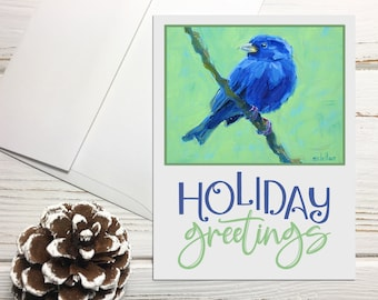 Indigo Bunting Holiday Card Set with Envelopes, Holiday Greetings Note Cards with Birds, Bird Holiday Notecards Set Blank Greeting Cards