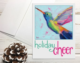 Hummingbird Holiday Note Cards Set with Envelopes, Holiday Cheer Cards, Bird Holiday Notecards Blank with Envelopes, Holiday Greeting Cards