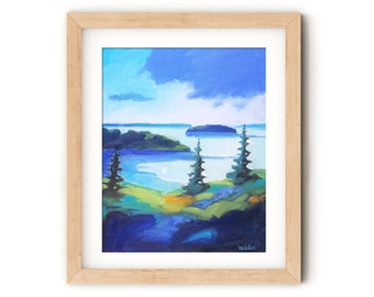 Maine Landscape Artistic Print, Landscape Bold Print, Maine Landscape on Canvas, Coastal Art Print, Living Room Wall Decor, Art Prints Maine
