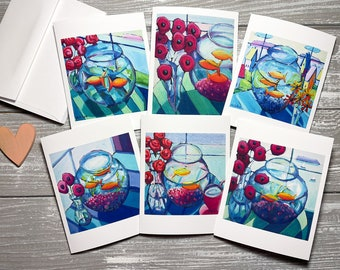 Goldfish Note Cards Set of 6, Stationery for Women, Blank Thank You Notes, Goldfish Art Note Cards and Envelopes, All Occasion Notecards