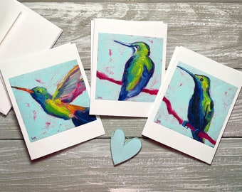 Hummingbird Note Cards, Bird Blank Note Cards Set Of 6, Bird Stationery Set, Bird Notecards Blank With Envelopes, Bird Group Note Cards