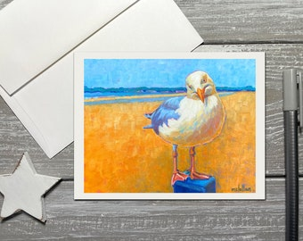 Seagull Note Cards with Envelopes, Seagull Art Note Cards Blank Inside, Seagull Painting Note Cards, Coastal Birds Greeting Card Set Blank