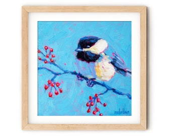 Chickadee Painting Print for Wall Decor Canvas, Colorful Bird Wall Art Canvas Print Art, Guest Room Decor for Bedroom, Wood Block Art Print