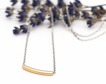 Everyday Two Tone Satin Gold Tube Necklace - Pretty Stainless Steel Chain with Lobster Clasp - Satin Hamilton Gold Bar Tube Bead