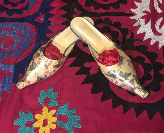 Out of This World Leather Chinoiserie Mules