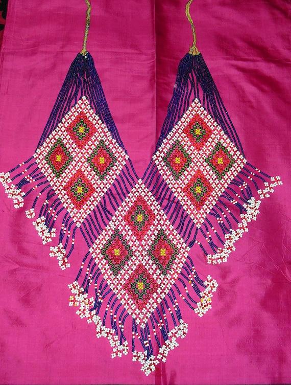 1970s Large Vintage Tribal Afghan Beaded Bib Neck