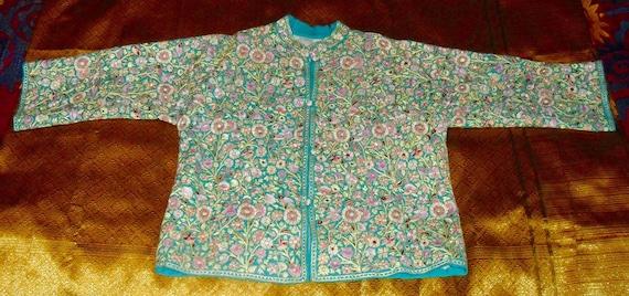 Vintage Kashmir Hand Embroidered Nehru Jacket Full