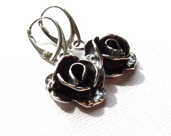 d577fee4a Oxidized Flower Earrings, Sterling Silver Metalwork, Rose Earrings, Black  contrast, Modern Jewelry