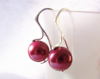 Bridesmaid Earrings, Red Pearl Earrings, Silver Earrings, South Sea Sterling Silver 925, Red Wine Pearl Earrings