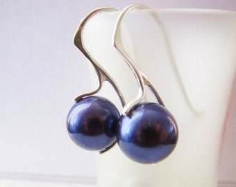 Tahitian Pearl Earrings, South Sea Sterling Silver 925, Deep Blue, Silver Earrings, Pearl Earrings, Bridesmaid earrings